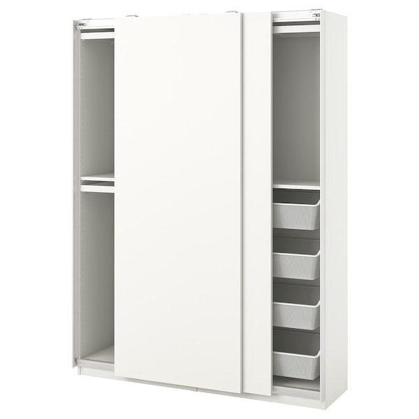 PAX / HASVIK Wardrobe combination, white, 150x44x201 cm