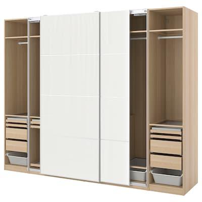 PAX / HOKKSUND wardrobe combination white stained oak effect/high-gloss light grey 300.0 cm 66.0 cm 236.4 cm