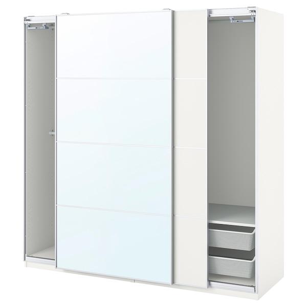 PAX / MEHAMN/AULI wardrobe combination white/mirror glass 200.0 cm 66.0 cm 201.2 cm
