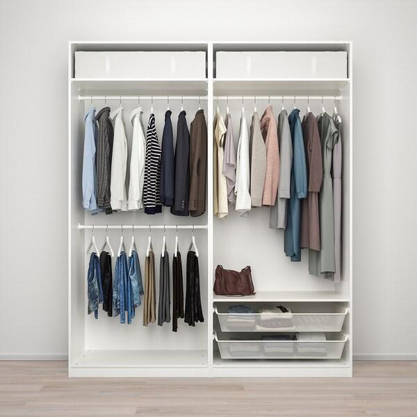 PAX / MEHAMN/AULI Wardrobe combination, white/mirror glass, 200x66x236 cm