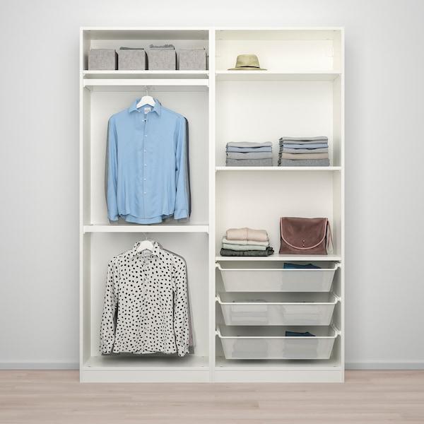 PAX / MEHAMN Wardrobe combination, white/white stained oak effect, 150x44x201 cm