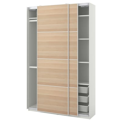 PAX / MEHAMN Wardrobe combination, white/white stained oak effect, 150x44x236 cm