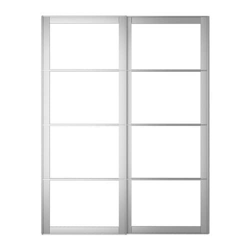 PAX Pair of sliding door frames w rail Aluminium 150x236 cm - IKEA