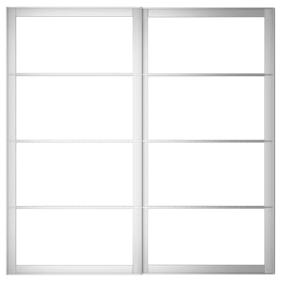 PAX Pair of sliding door frames w rail, aluminium, 200x201 cm