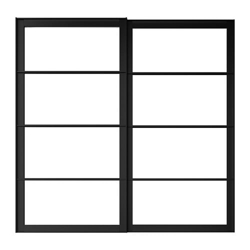 PAX Pair of sliding door frames w rail , black Built-in depth: 8 cm Thickness: 2.3 cm Height: 201 cm Width: 150 cm