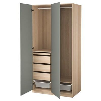 PAX / REINSVOLL wardrobe combination white stained oak effect/grey-green 100.0 cm 60.0 cm 201.2 cm