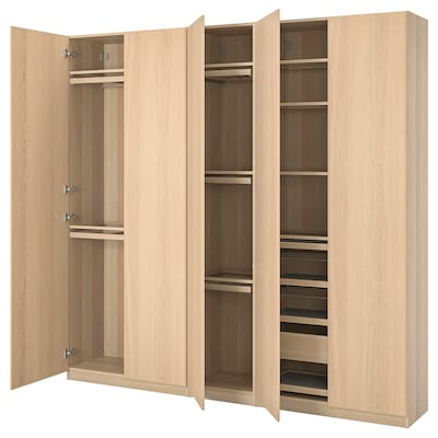 PAX / REPVÅG wardrobe combination white stained oak effect/white stained oak veneer 250.0 cm 38.0 cm 236.4 cm