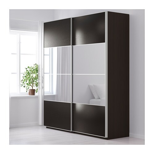 pax wardrobe black brown auli ilseng 200x66x236 cm ikea. Black Bedroom Furniture Sets. Home Design Ideas