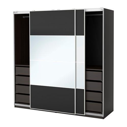 pax wardrobe black brown auli ilseng 200x66x201 cm ikea. Black Bedroom Furniture Sets. Home Design Ideas