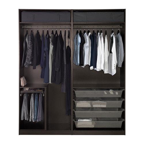 Pax wardrobe black brown auli sekken 200x66x236 cm ikea - Armoire penderie ikea pax ...