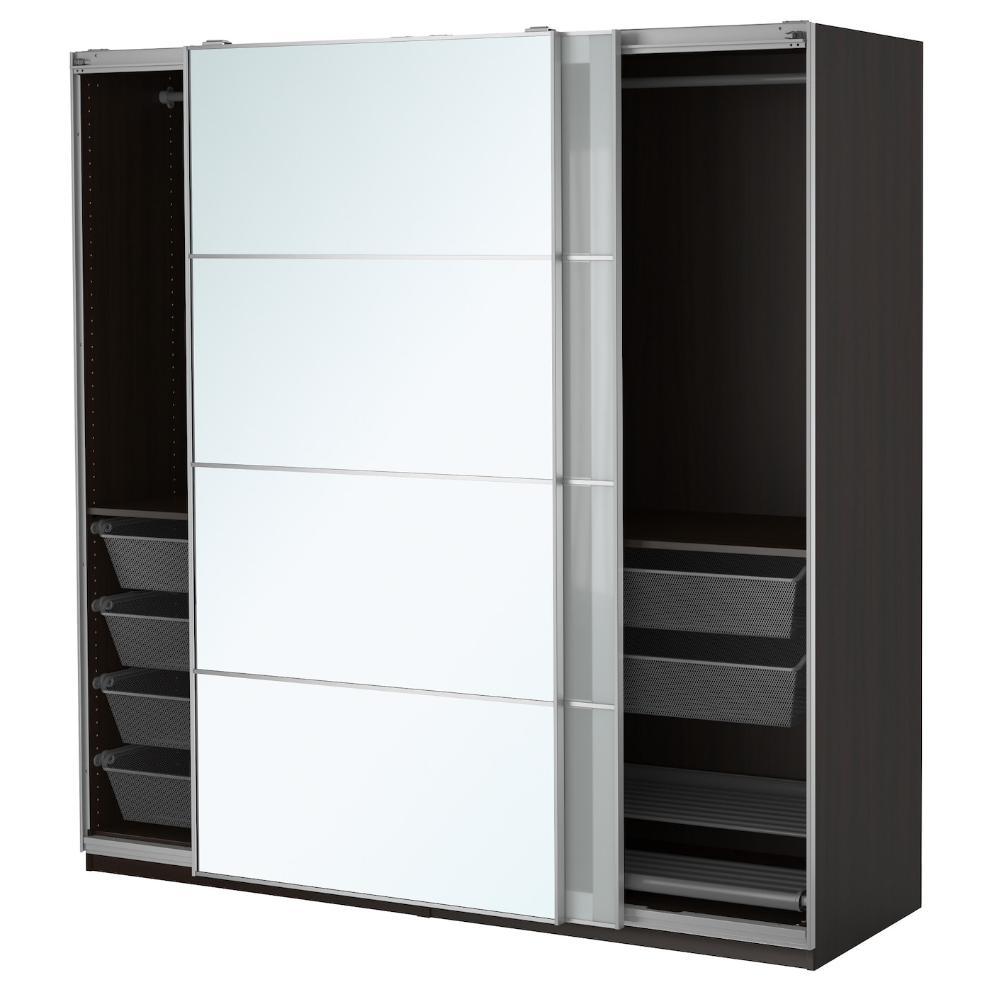 pax wardrobe black brown auli sekken 200 x 66 x 201 cm ikea. Black Bedroom Furniture Sets. Home Design Ideas