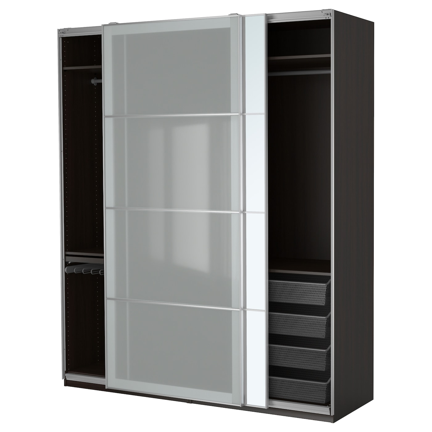 Pax wardrobe black brown auli sekken 200x66x236 cm ikea for Armoire penderie avec portes coulissantes