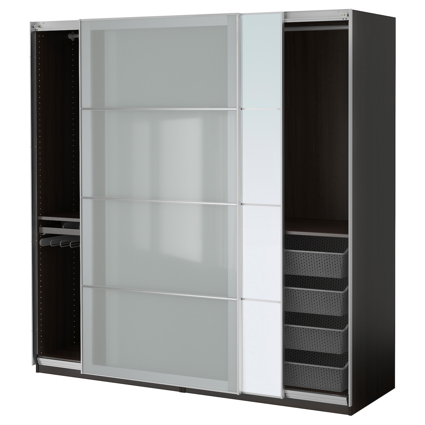 pax wardrobe black brown auli sekken 200x66x201 cm ikea. Black Bedroom Furniture Sets. Home Design Ideas