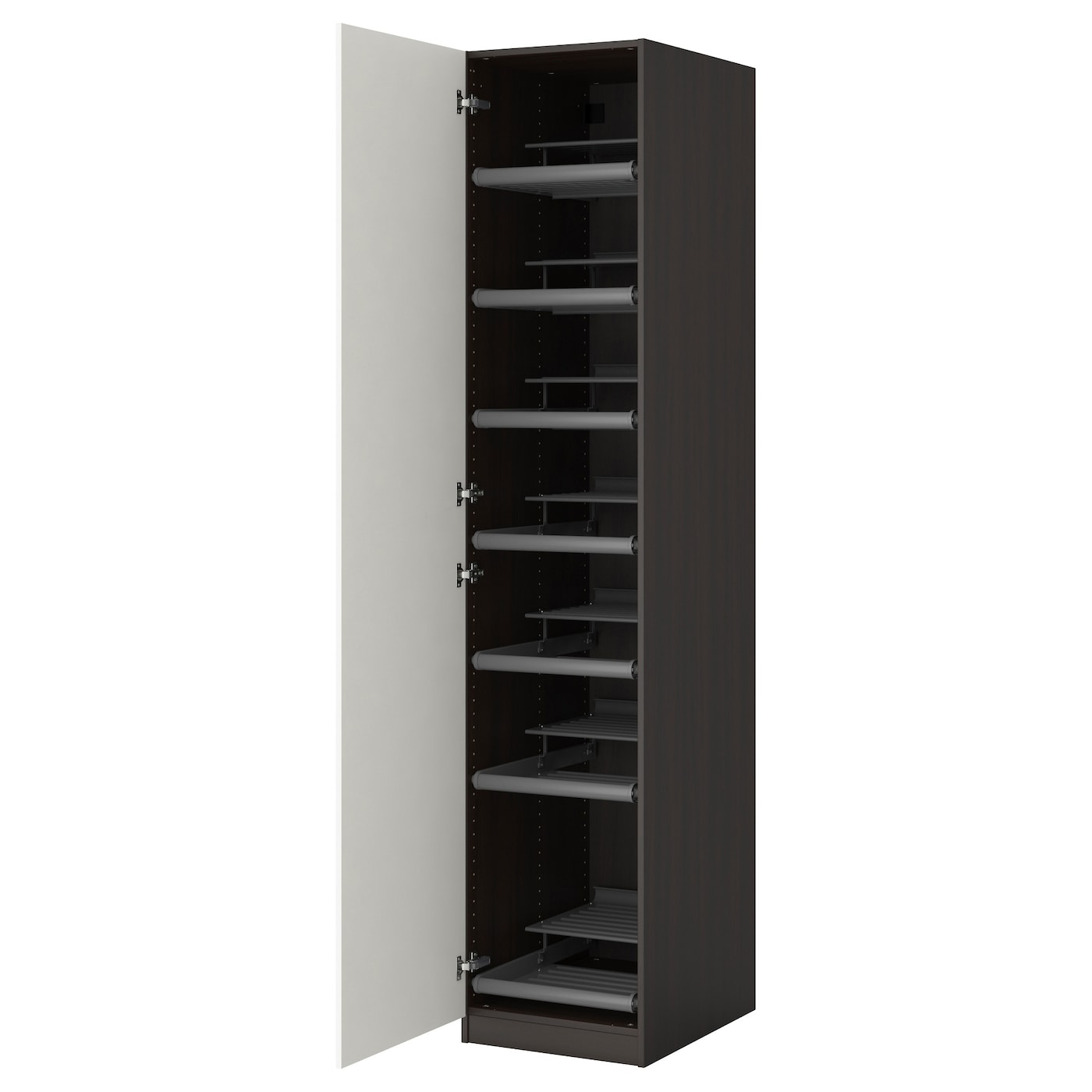 Pax wardrobe black brown ballstad white 50x60x236 cm ikea for Schuhschrank 70 x 200