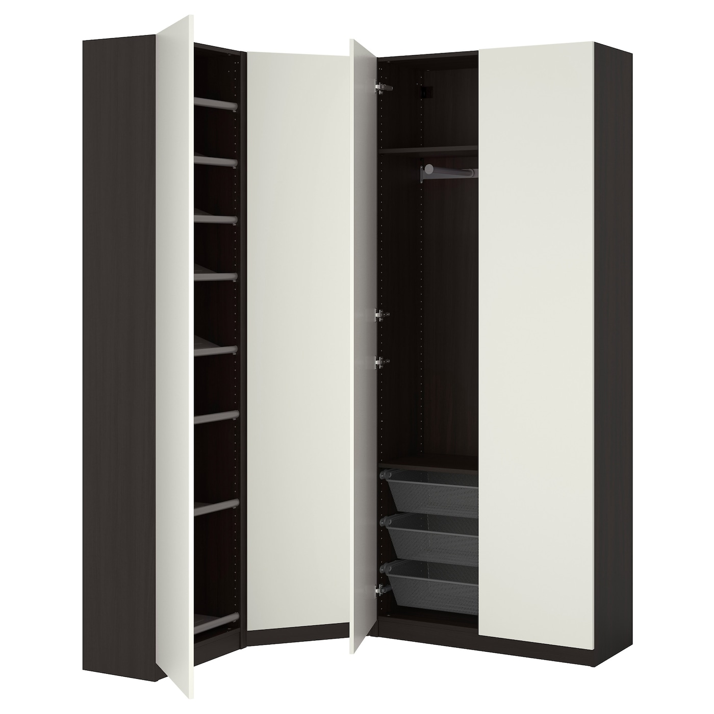 pax wardrobe black brown ballstad white 123 173x38x236 cm. Black Bedroom Furniture Sets. Home Design Ideas