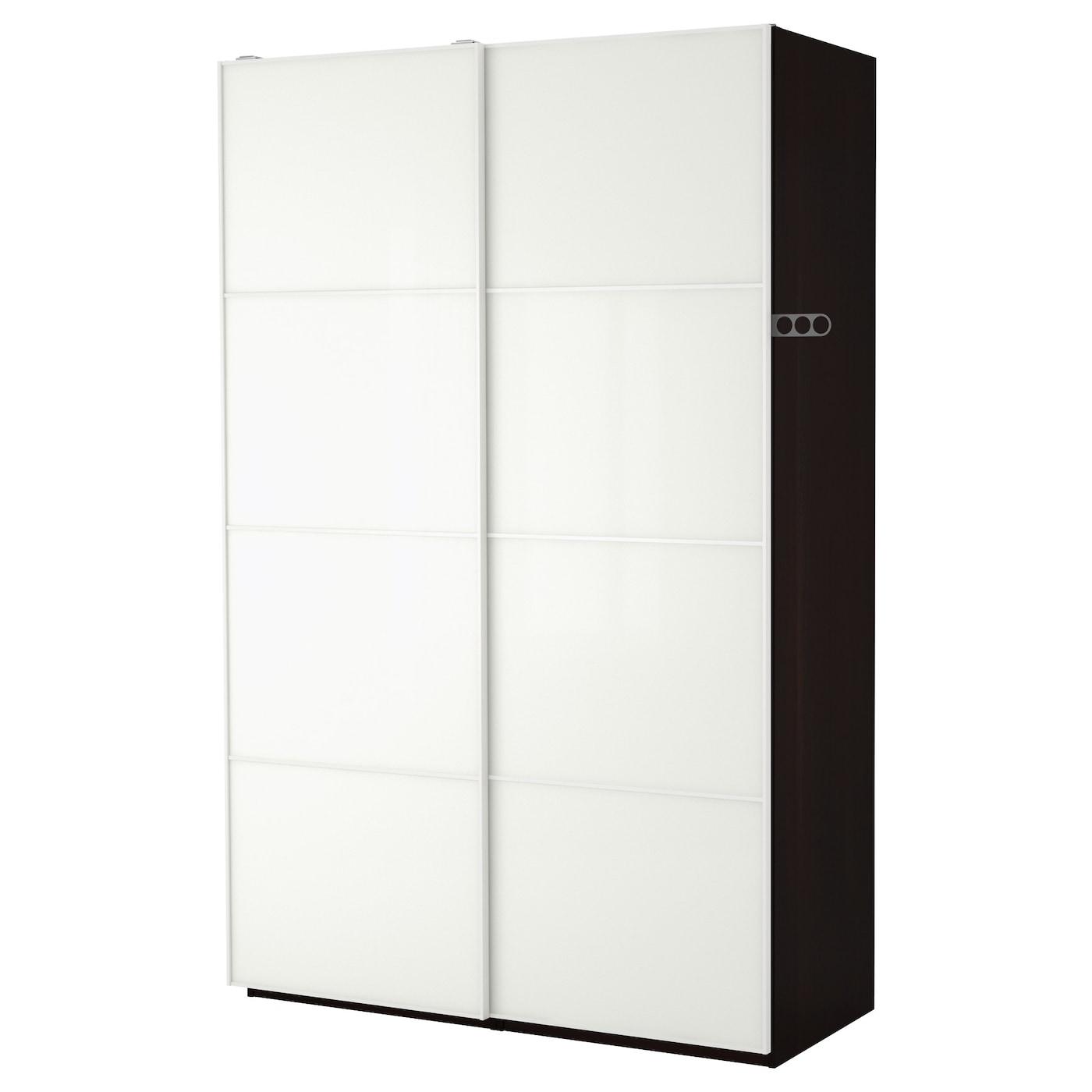 pax wardrobe black brown f rvik white glass 150x66x201 cm ikea. Black Bedroom Furniture Sets. Home Design Ideas