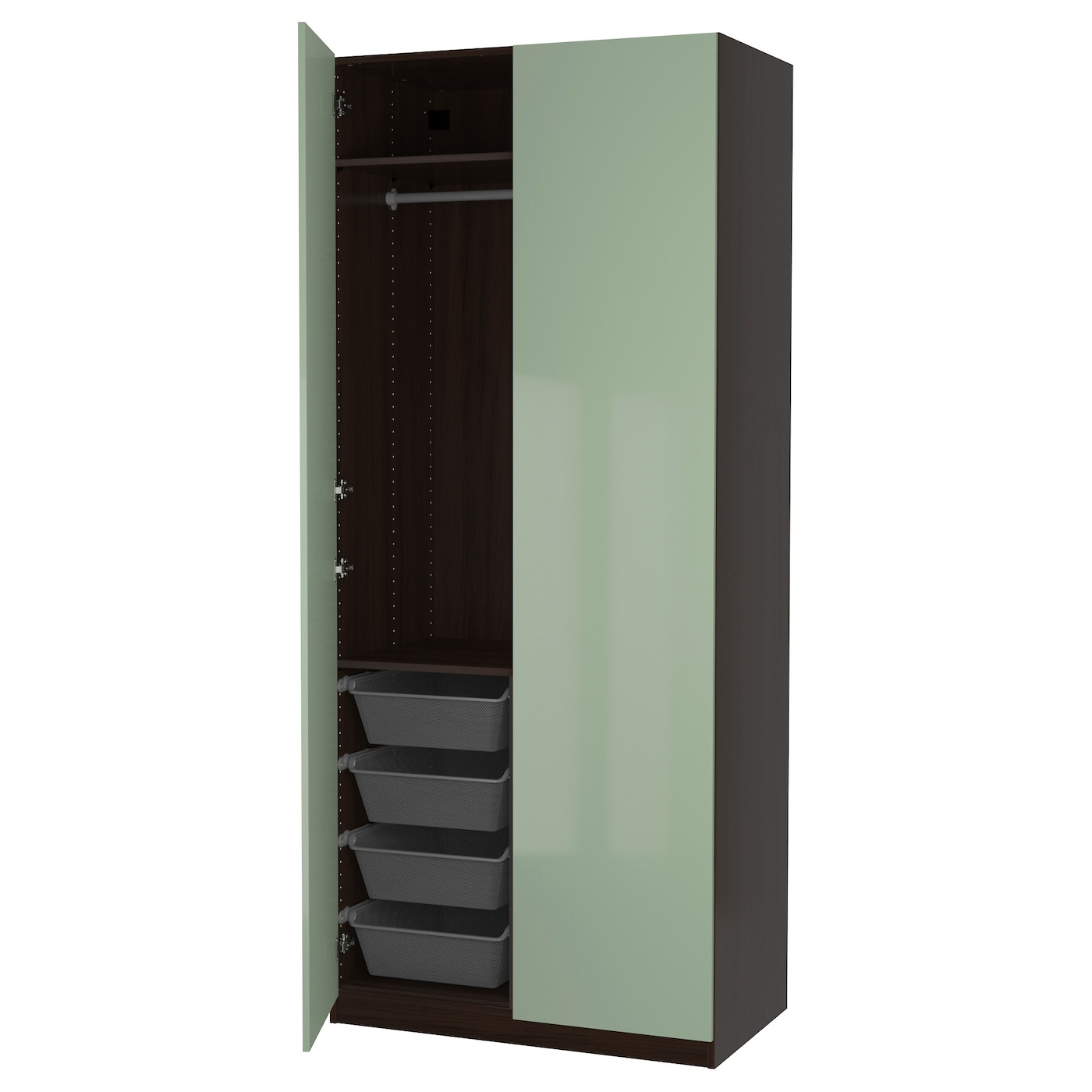 pax wardrobe black brown fardal high gloss light green. Black Bedroom Furniture Sets. Home Design Ideas
