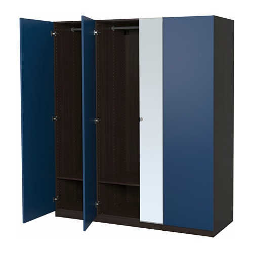 pax wardrobe black brown forsand vikedal 175x60x201 cm ikea. Black Bedroom Furniture Sets. Home Design Ideas