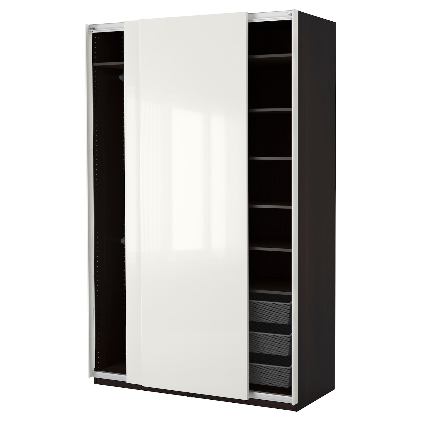 pax wardrobe black brown hasvik high gloss white 150 x 66 x 236 cm ikea. Black Bedroom Furniture Sets. Home Design Ideas