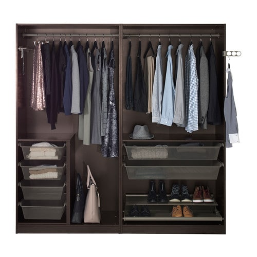 PAX Wardrobe Black brown ilseng black brown 200x66x201 cm IKEA