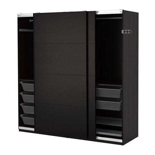 Pax wardrobe black brown ilseng black brown 200x66x201 cm - Ikea armoire portes coulissantes ...