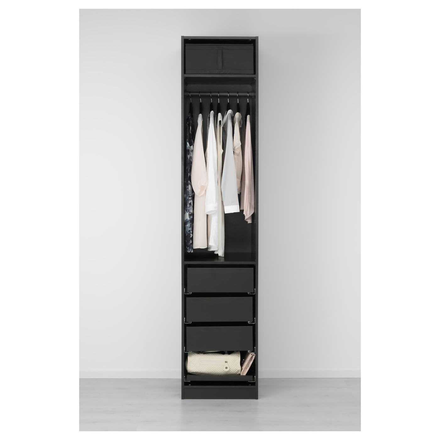 pax wardrobe black brown nexus black brown 50x60x236 cm ikea. Black Bedroom Furniture Sets. Home Design Ideas