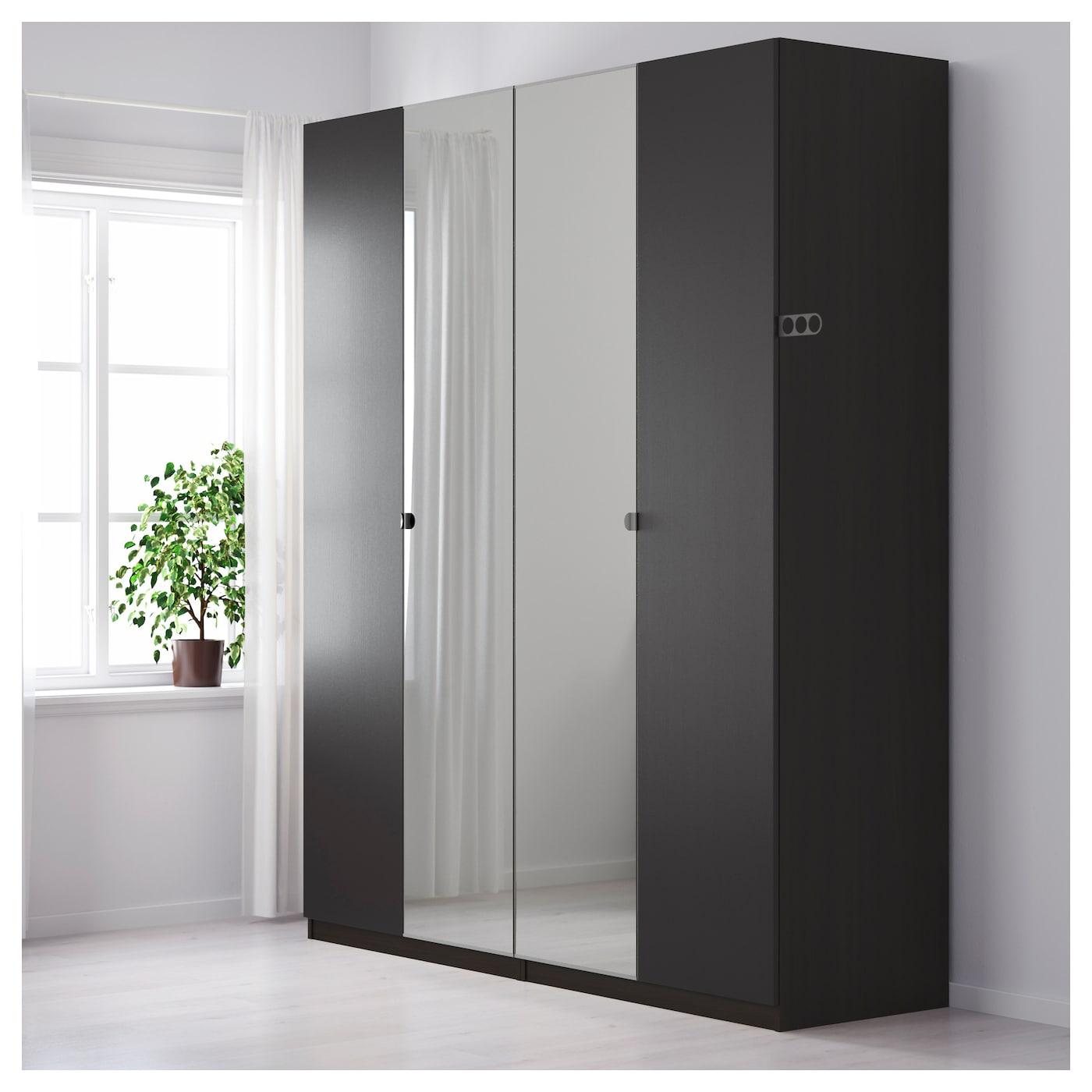 pax wardrobe black brown nexus vikedal 200x60x236 cm   ikea