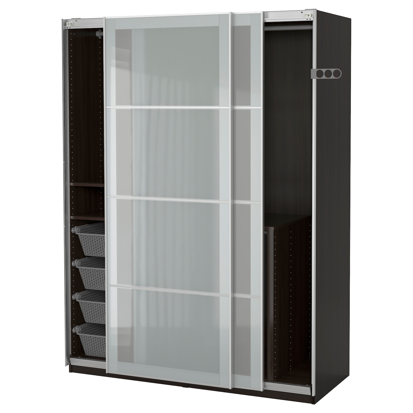 pax wardrobe black brown sekken frosted glass 150x66x201 cm ikea. Black Bedroom Furniture Sets. Home Design Ideas