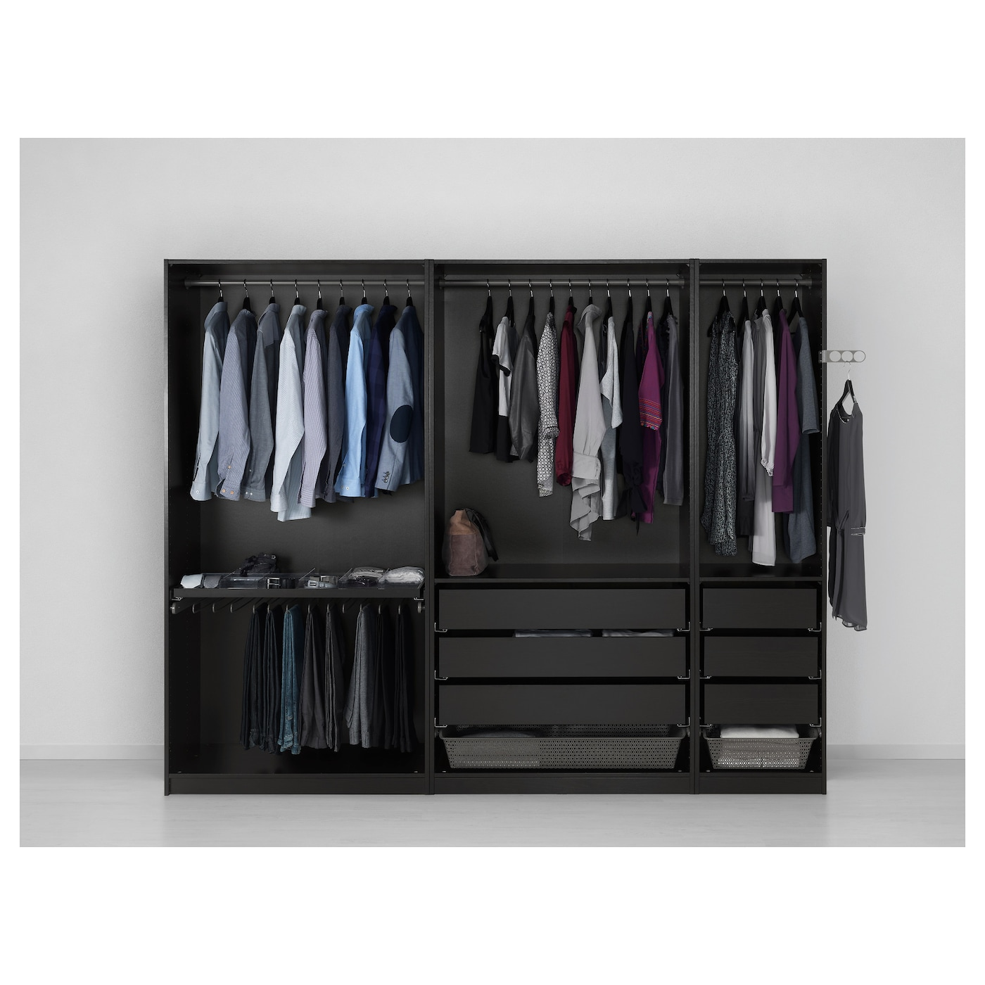 Pax wardrobe black brown undredal black 250x60x201 cm ikea for Creation armoire ikea