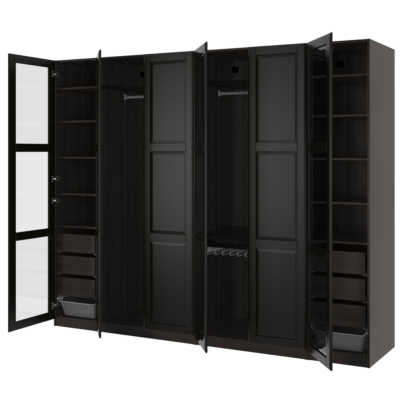 pax wardrobe black brown undredal undredal glass 300x60x236 cm ikea. Black Bedroom Furniture Sets. Home Design Ideas
