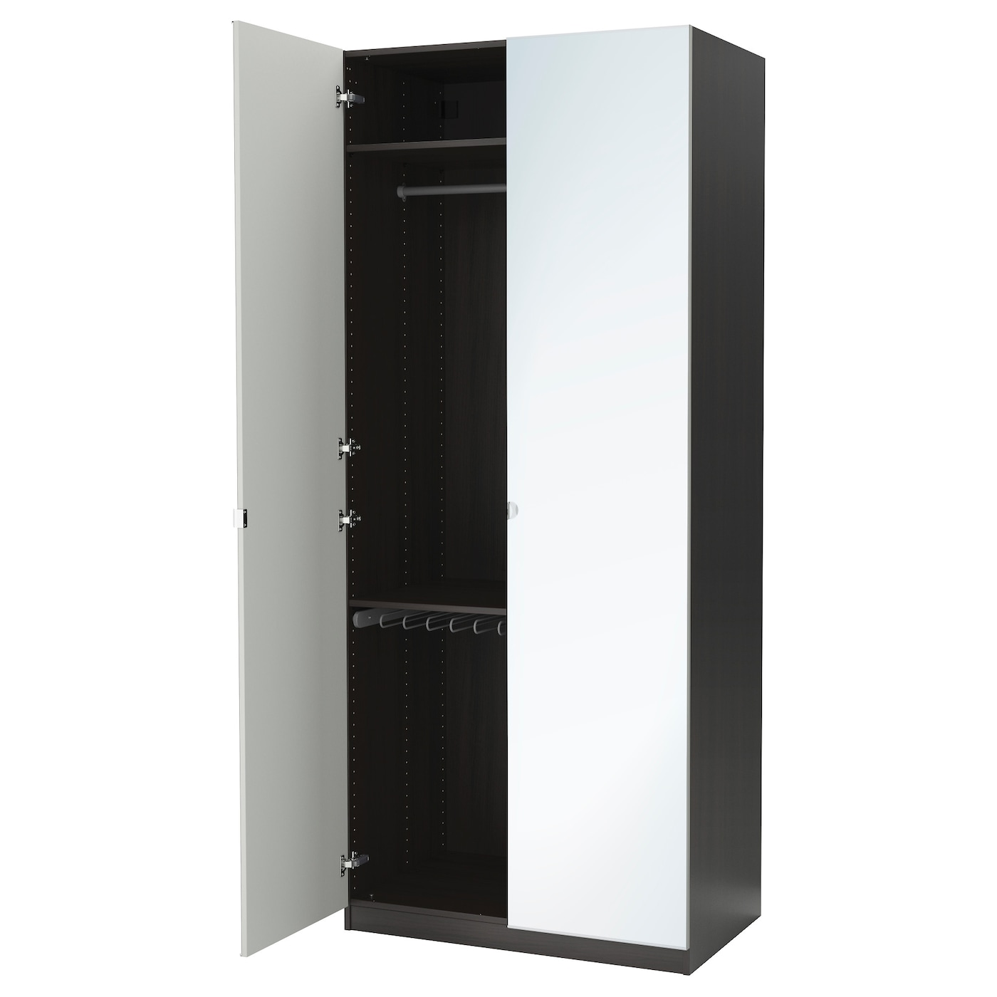 Pax wardrobe black brown vikedal mirror glass 100x60x236 for Armoire porte coulissante miroir ikea