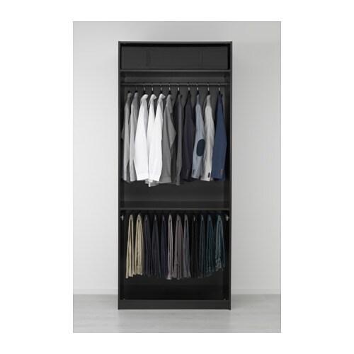 pax wardrobe black brown vikedal mirror glass 100x60x236