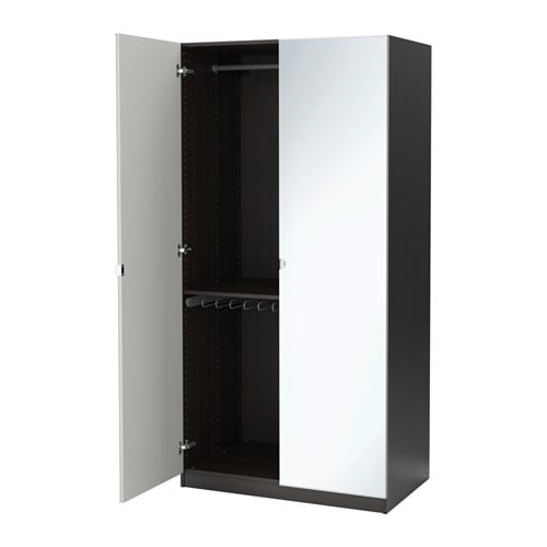 PAX Wardrobe Black brownvikedal Mirror Glass 100x60x201