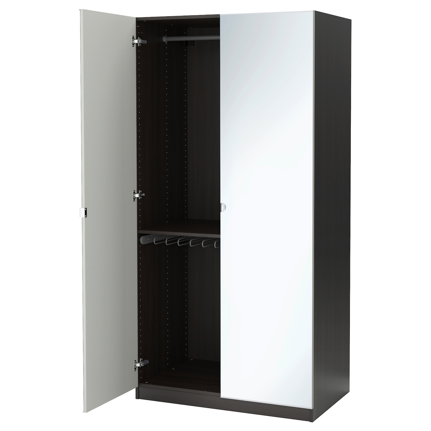 pax wardrobe black brown vikedal mirror glass 100x60x201