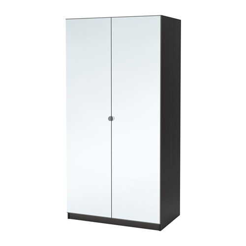 Pax wardrobe black brown vikedal mirror glass 100x60x201 cm ikea - Ikea armoire with mirror ...