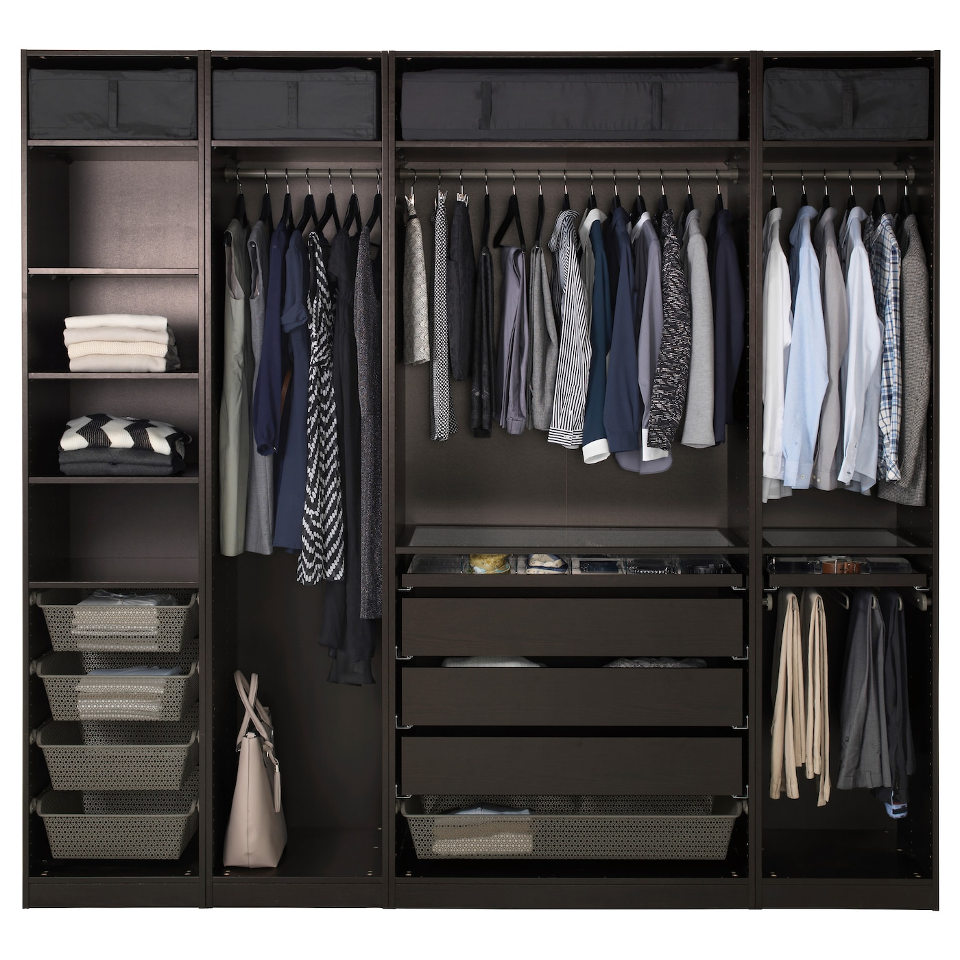 pax wardrobe black brown vinterbro white 250x60x236 cm ikea. Black Bedroom Furniture Sets. Home Design Ideas
