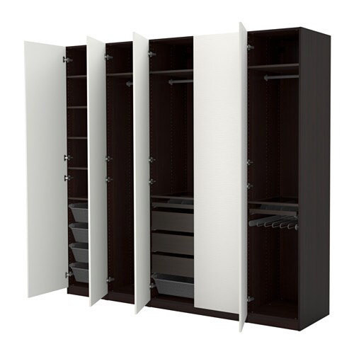 PAX Wardrobe Black-brown/vinterbro white 250x60x236 cm - IKEA