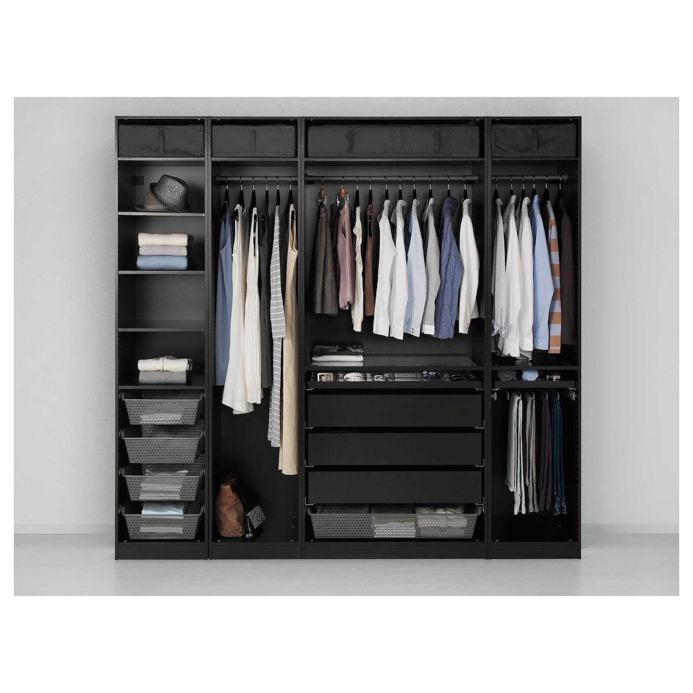 pax wardrobe black brown 250x58x236 cm ikea. Black Bedroom Furniture Sets. Home Design Ideas