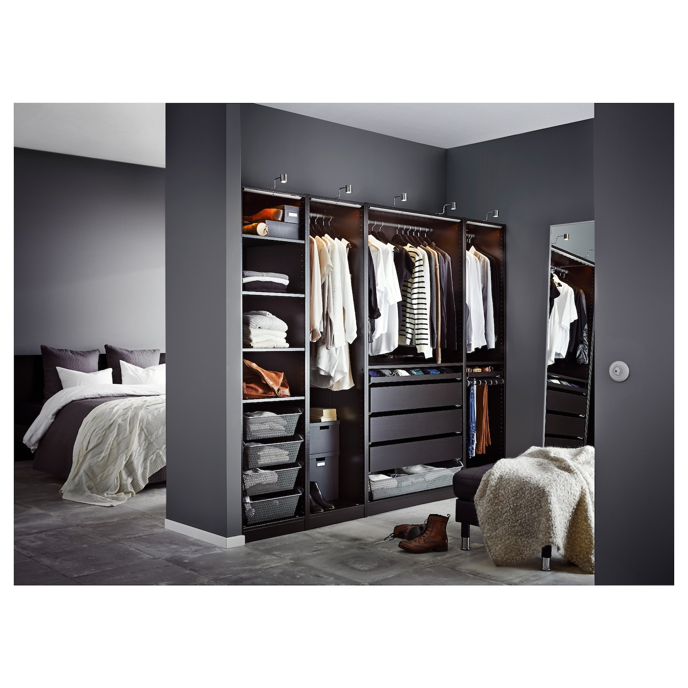PAX Wardrobe Black-brown 250x58x201 cm - IKEA