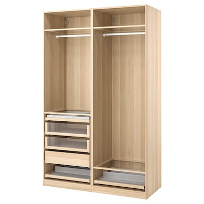 PAX wardrobe combination white stained oak effect 150.0 cm 58.0 cm 236.4 cm
