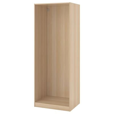 PAX Wardrobe frame, white stained oak effect, 75x58x201 cm