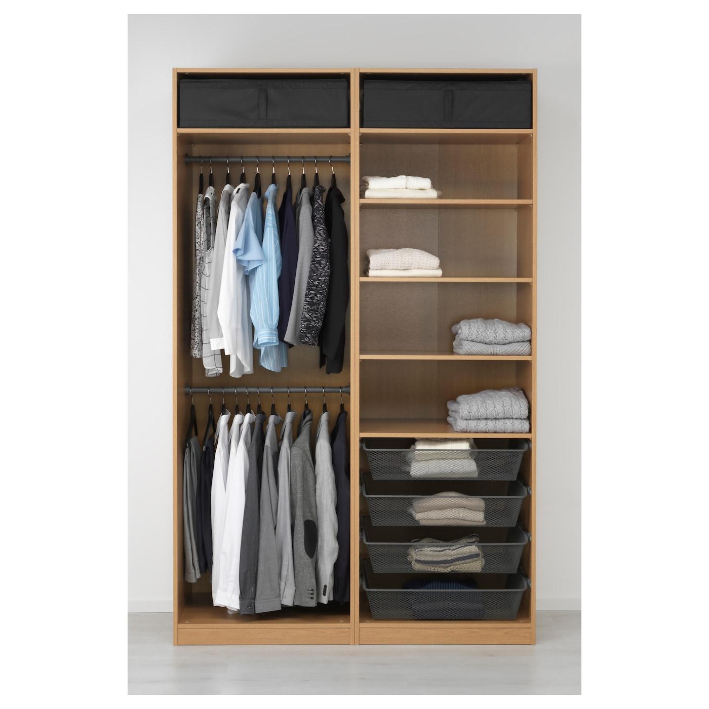 Pax wardrobe oak effect ilseng oak veneer 150x66x236 cm ikea for Ikea wardrobes pax