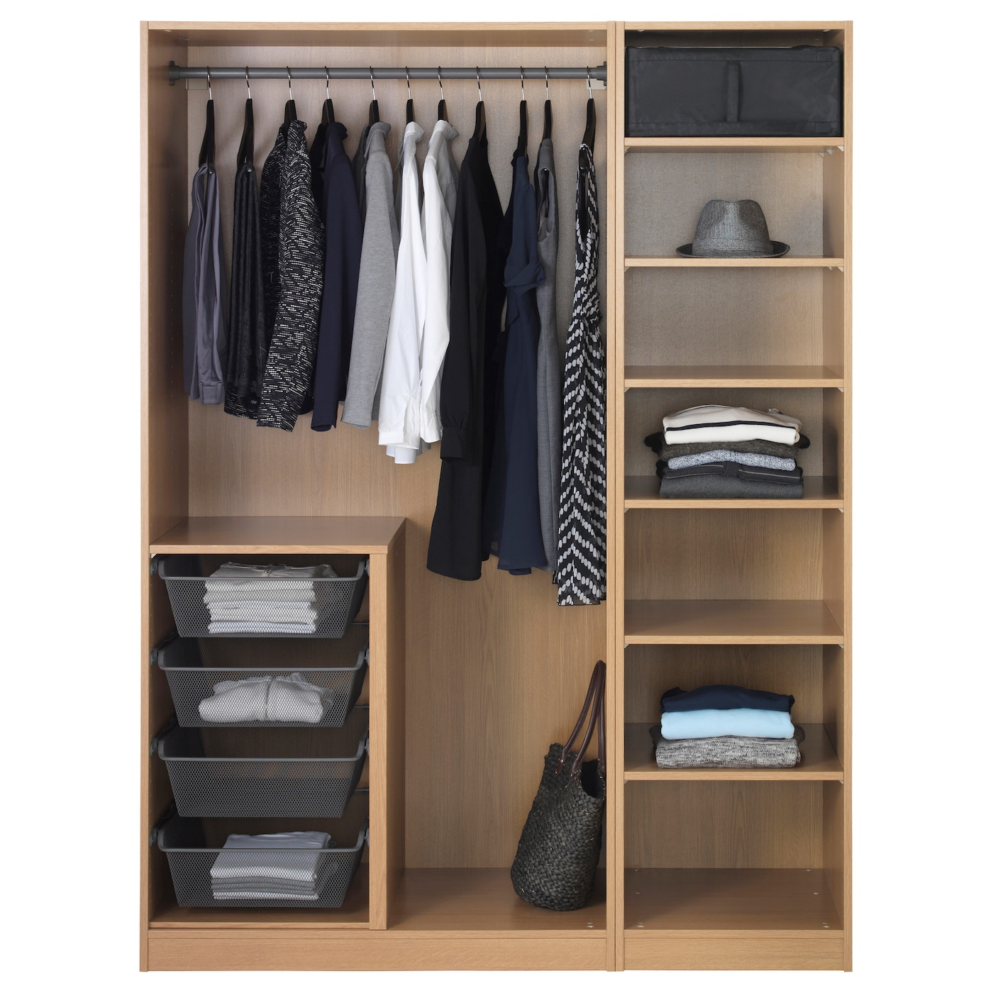 pax wardrobe oak effect nexus vikedal 150 x 60 x 201 cm ikea. Black Bedroom Furniture Sets. Home Design Ideas
