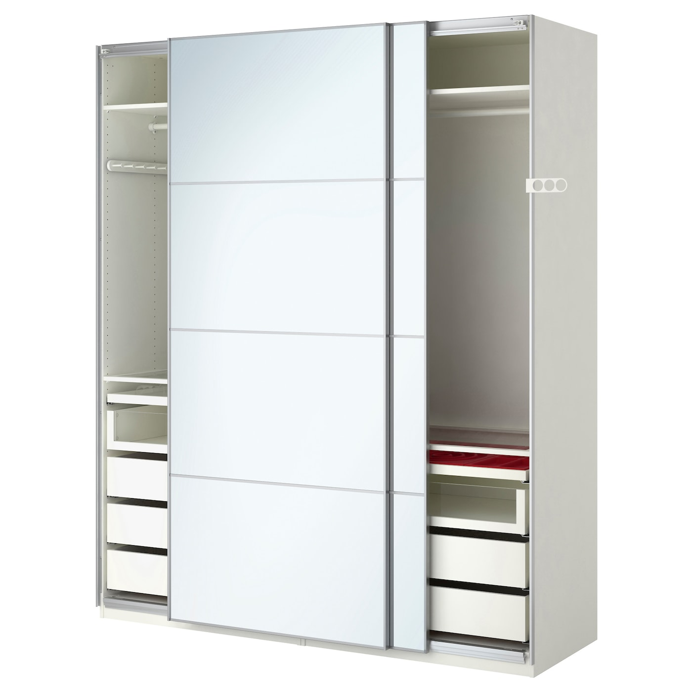 Pax wardrobe white auli mirror glass 200x66x236 cm ikea for Ikea porte miroir