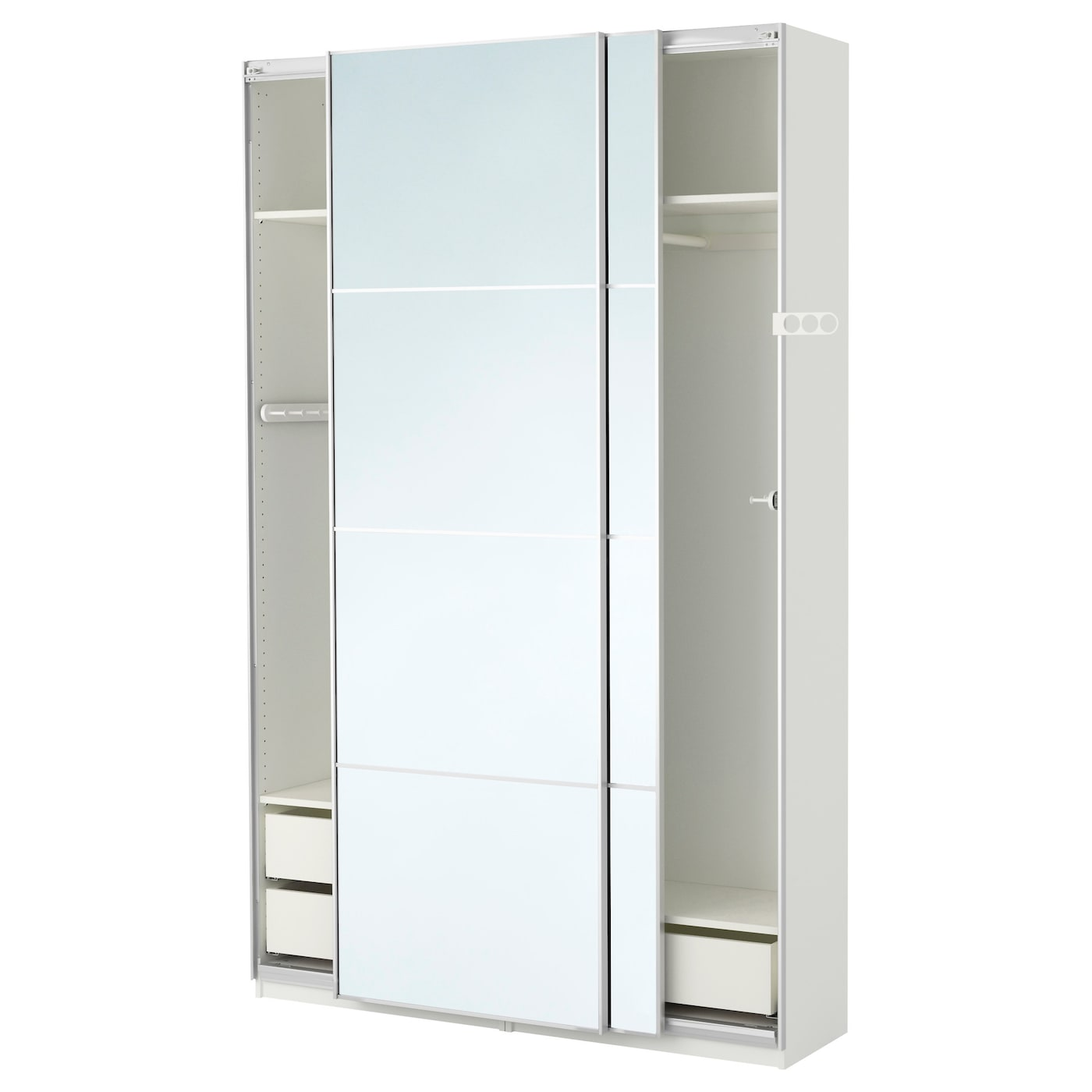 Pax wardrobe white auli mirror glass 150x44x236 cm ikea for Miroir 30 cm largeur