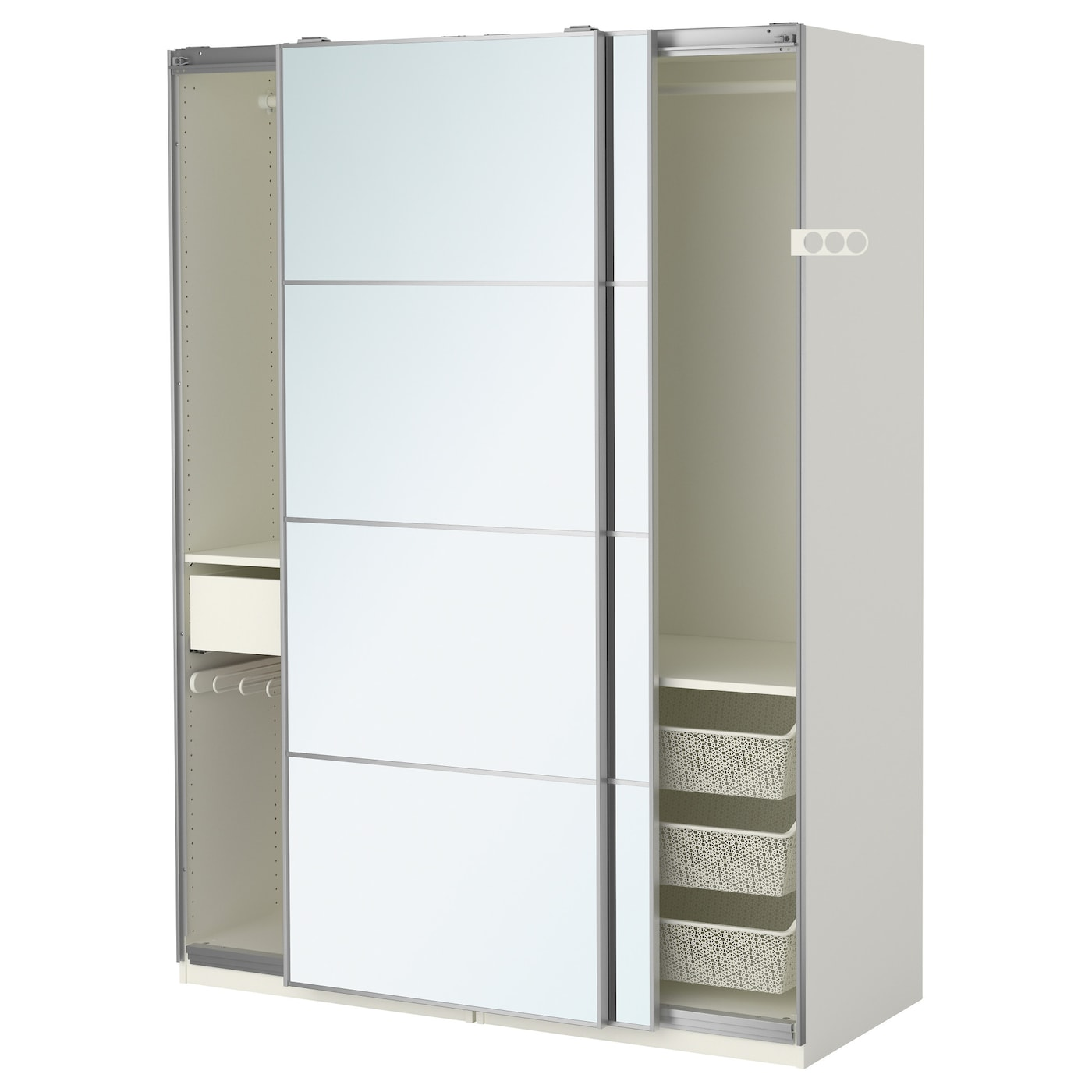 pax wardrobe white auli mirror glass 150x66x201 cm ikea