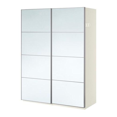 pax wardrobe white auli mirror glass 150x66x201 cm ikea. Black Bedroom Furniture Sets. Home Design Ideas
