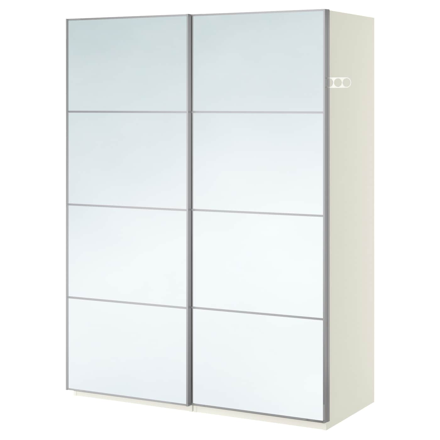 PAX Wardrobe White auli mirror glass 150x66x201 cm IKEA