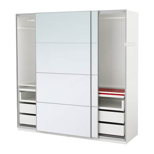 PAX Wardrobe White/auli Mirror Glass 200x66x201 Cm