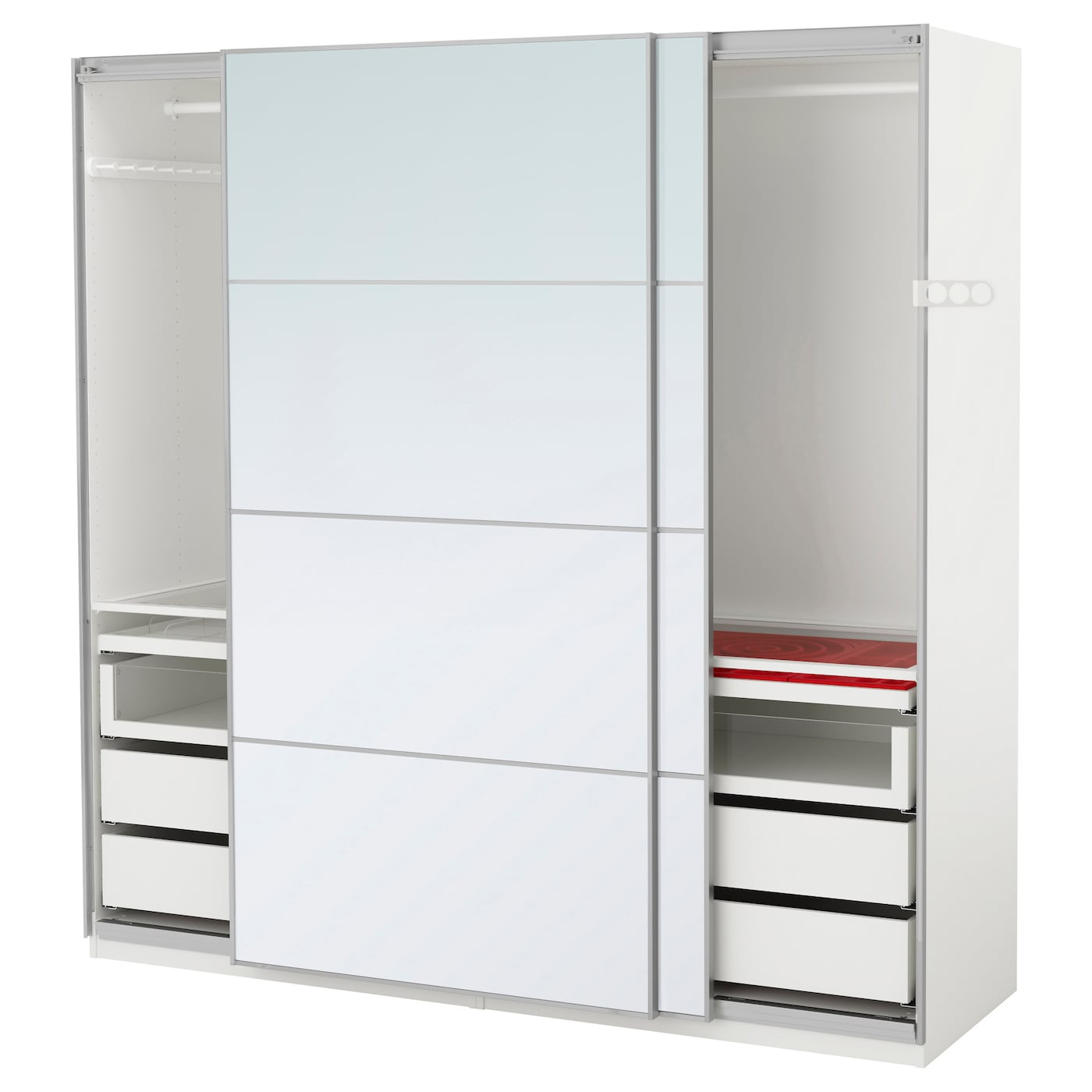 PAX Wardrobe White/auli mirror glass 200x66x201 cm - IKEA